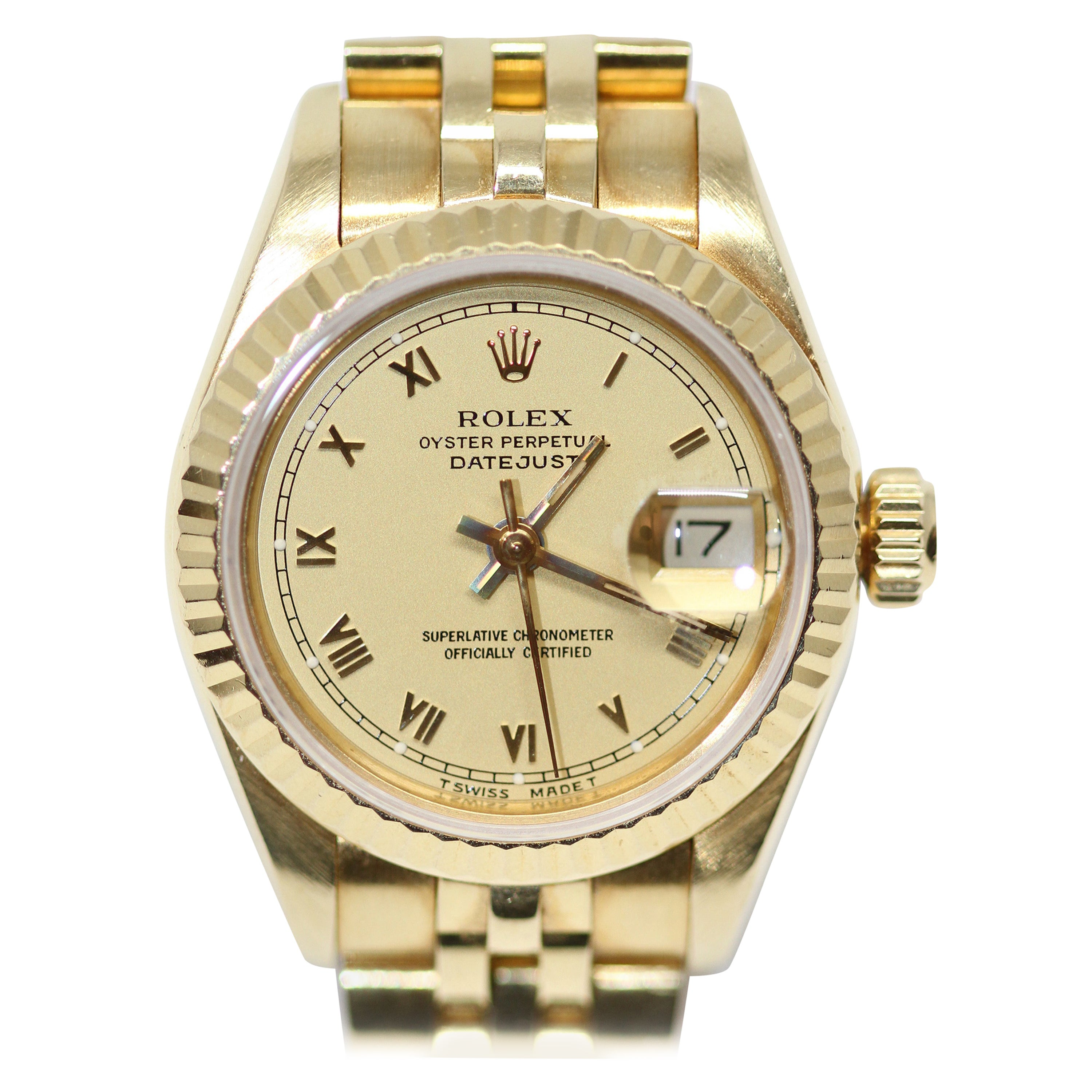 Rolex Oyster Perpetual Date Just Lady 18K Gold Watch