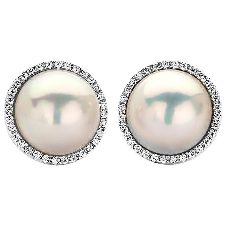 Large Mabe Pearl And Diamond Halo Earrings In White Gold