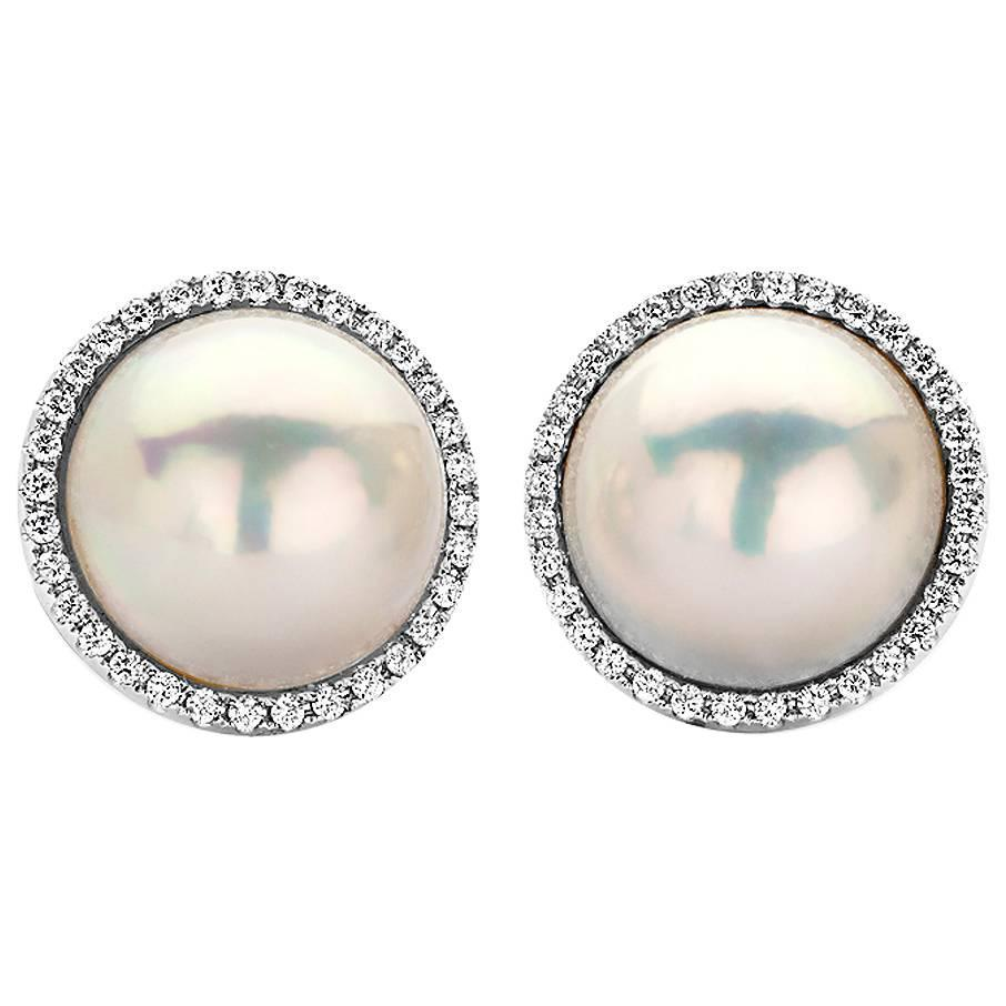 Large Mabe Pearl And Diamond Halo Earrings In White Gold For Sale At 1stdibs