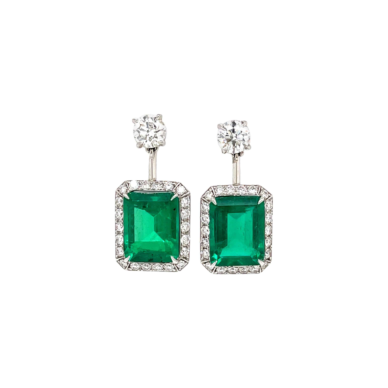 Gubelin Certified Colombian Emerald Diamond Earrings