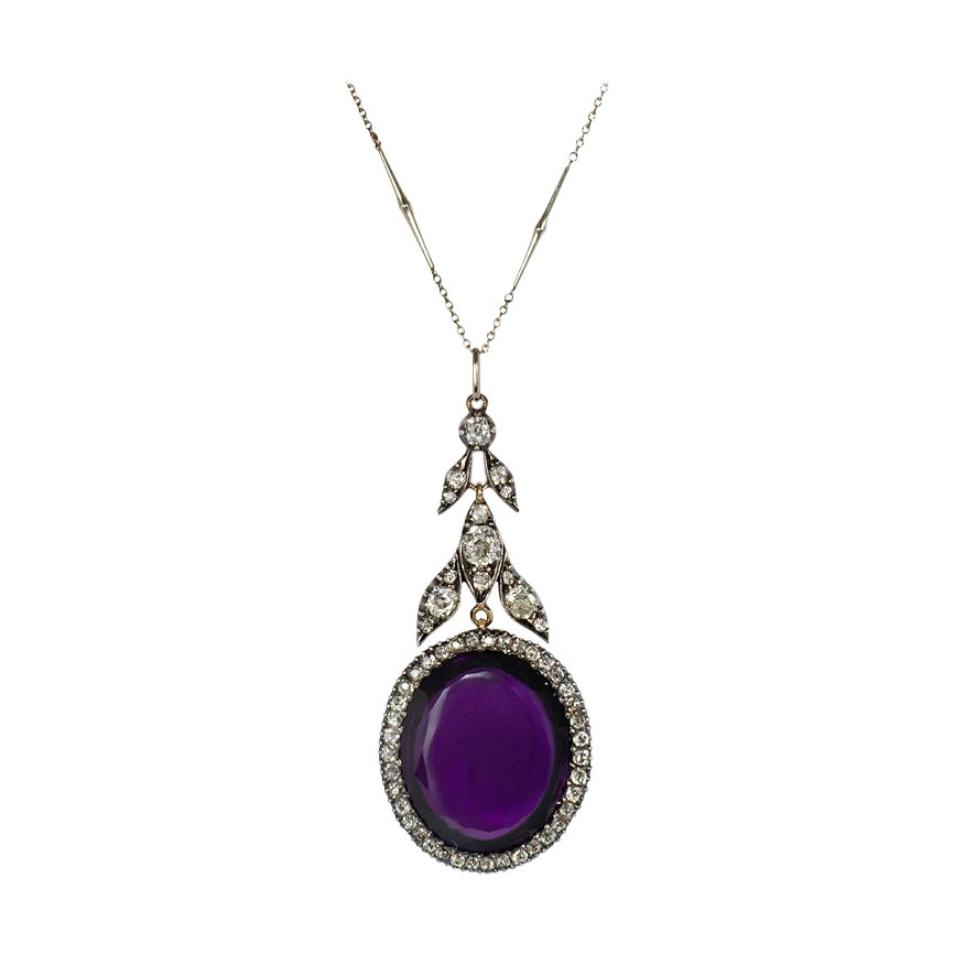 Antique Amethyst and Old Cut Diamond Foliate Motif Pendant in Silver and Gold