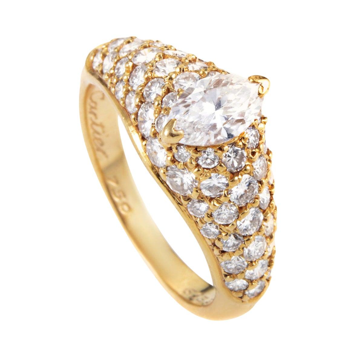 Cartier Marquise 1.25 Carat Diamond 18 Karat Yellow Gold Engagement Ring