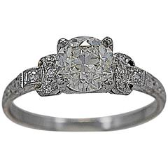 Art Deco 1.16 Carat GIA Cert Diamond Platinum Engagement Ring