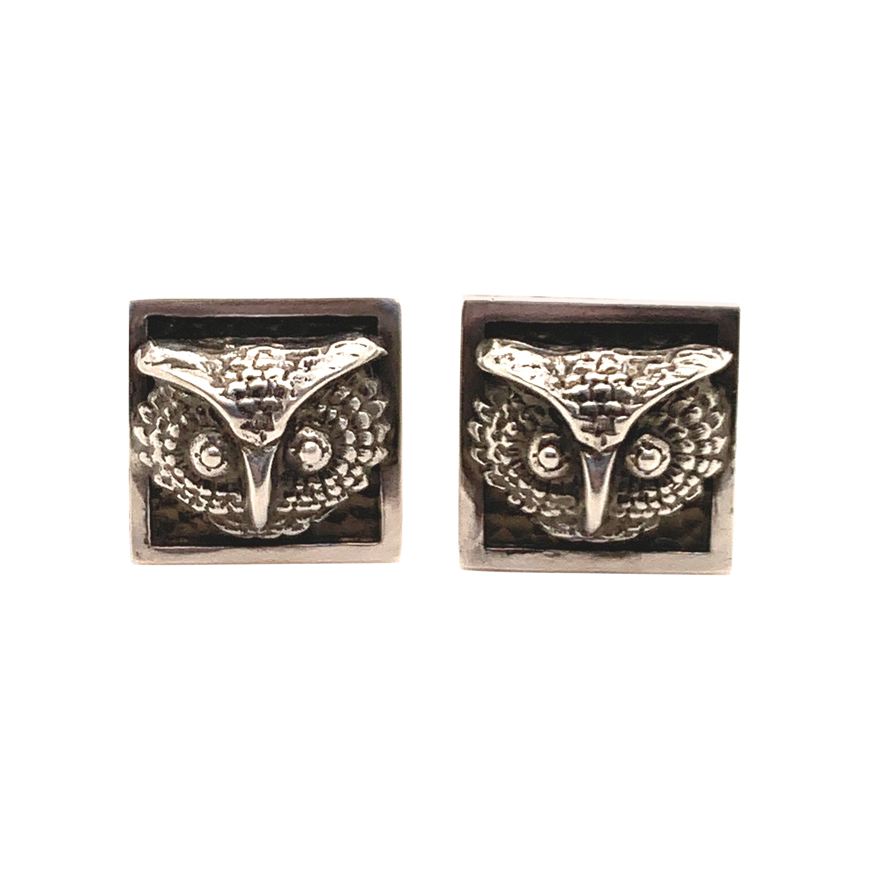 Sterling Silver Owl Cufflinks