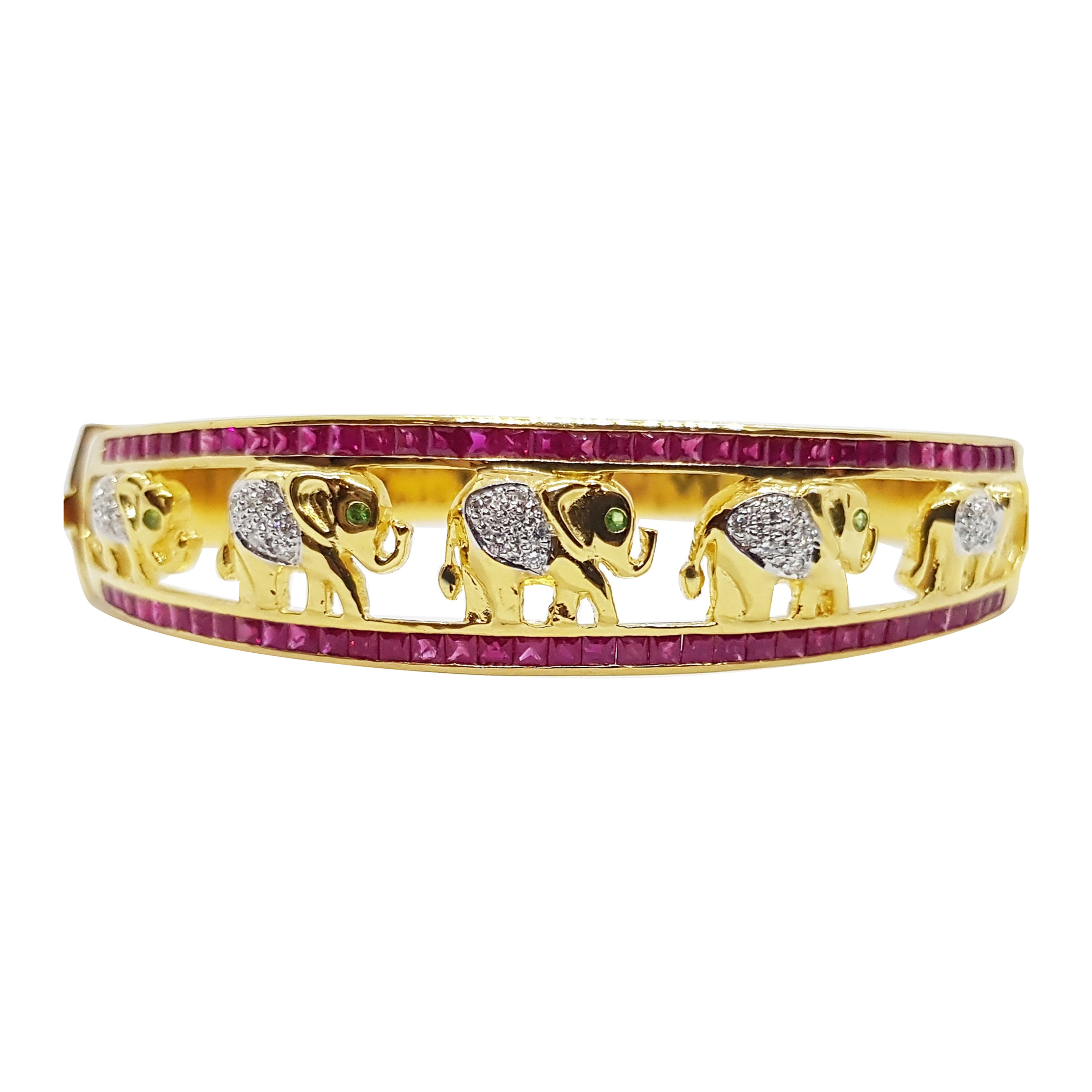 Ruby with Tsavorite and Diamond Bangle Elephant Set in 18k Gold