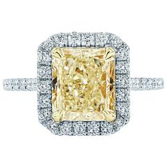 3.62 GIA cert Radiant  Fancy Yellow diamond Gold Halo Engagement Ring