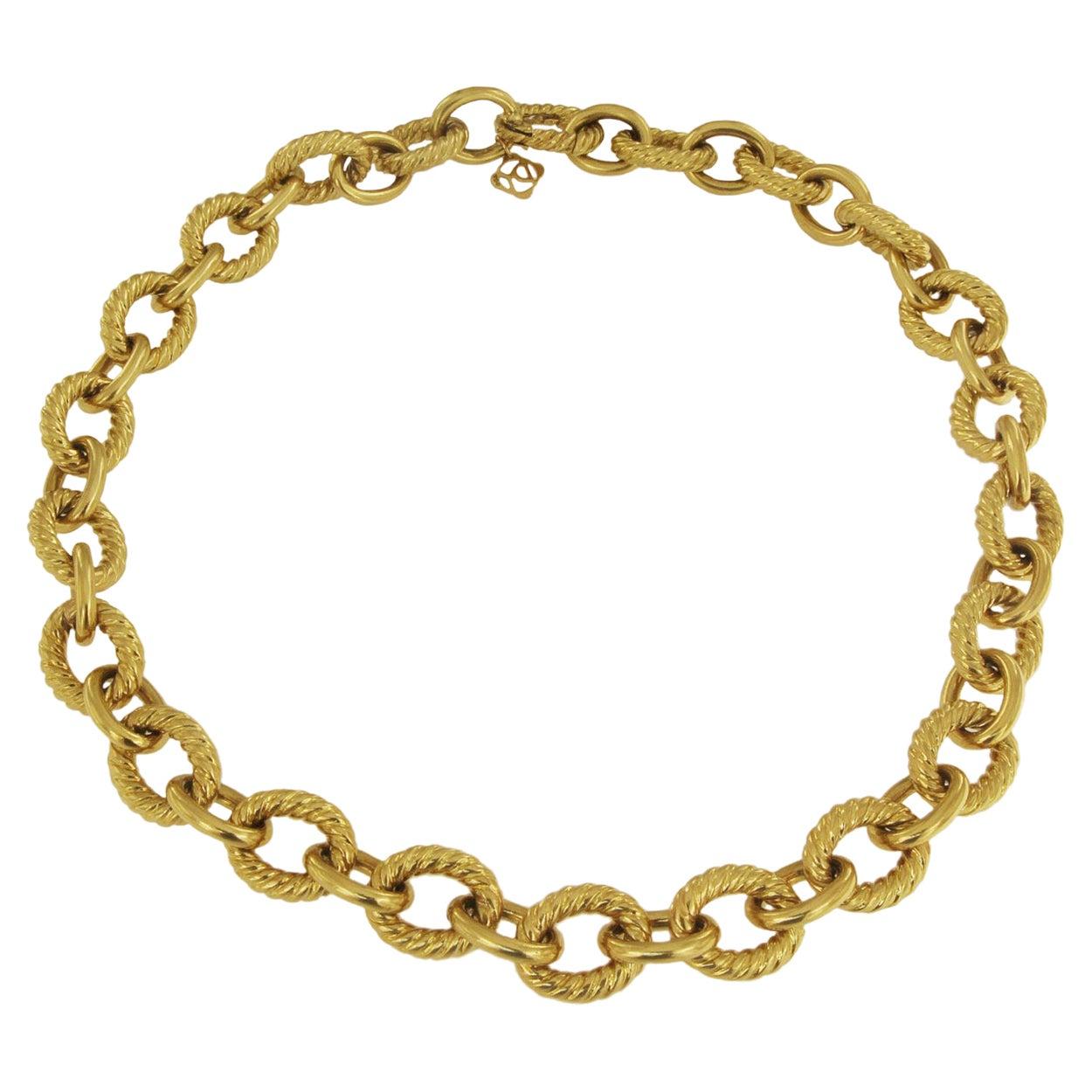 David Yurman Oval Link Chain Choker in 18k Gold