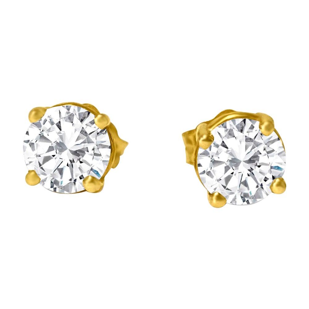 VVS Diamond Studs in 14k Yellow Gold Unisex Earrings