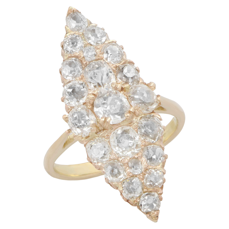 3 Carat Antique Old Mine Cut Diamond Ring in 18 Karat Yellow Gold