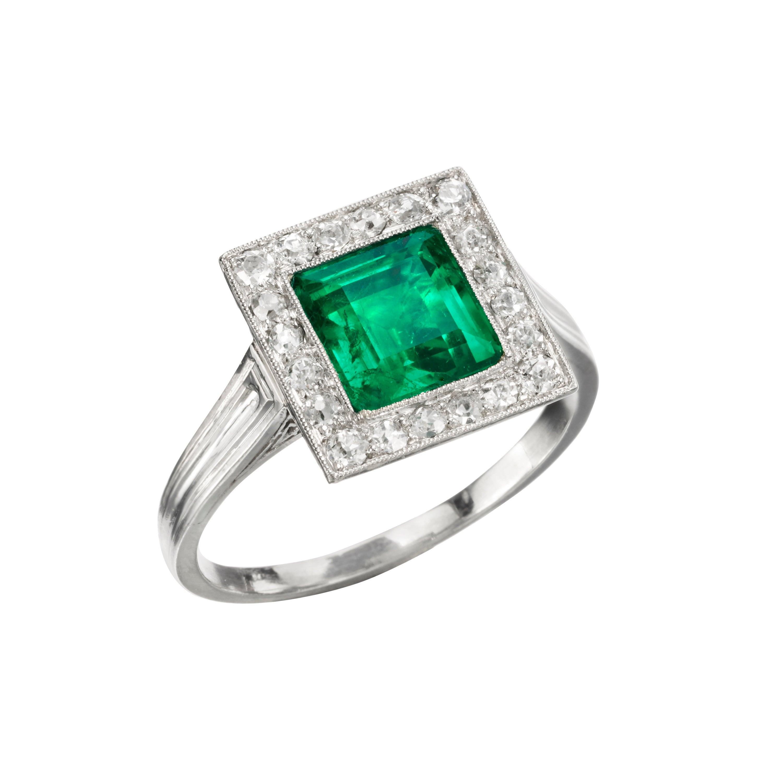 AGL Certified 1.51 Carat Natural Colombian Emerald Diamond Art Deco Ring