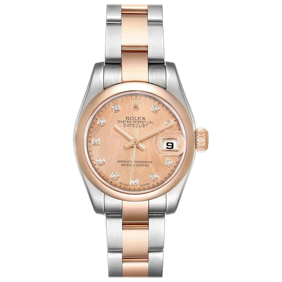 Rolex Datejust Steel Rose Gold Diamond Ladies Watch 179161