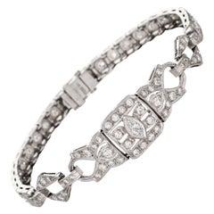 Vintage Art Deco 1.65ct Diamond Bracelet Platinum Estate Fine Jewelry