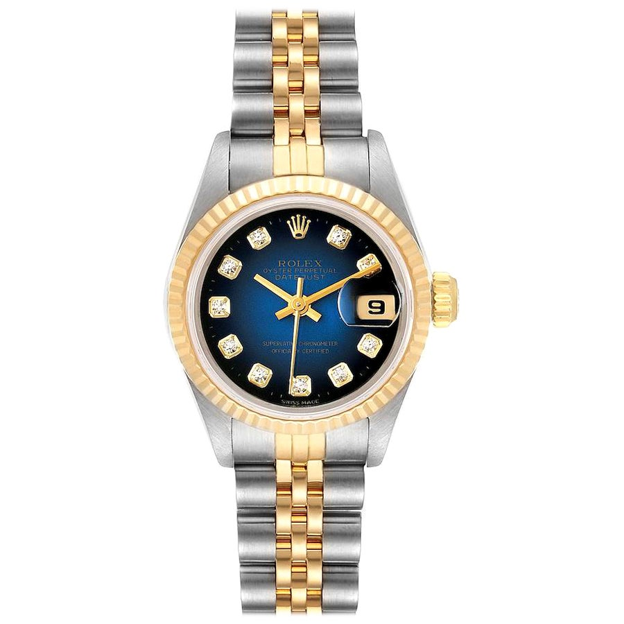 Rolex Datejust Steel Yellow Gold Diamond Ladies Watch 69173 Box Papers
