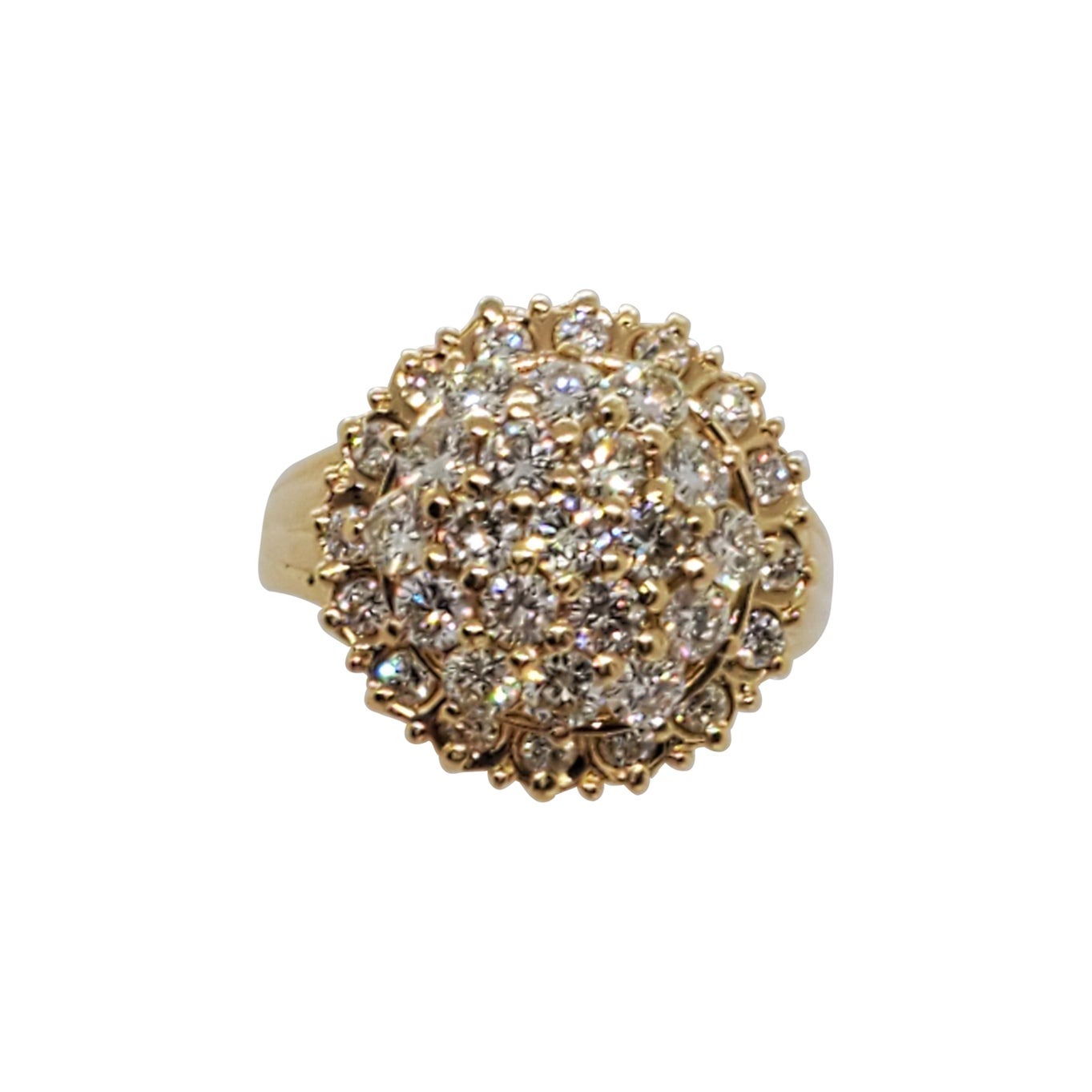 White Diamond Round Cluster Ring in 18k Yellow Gold