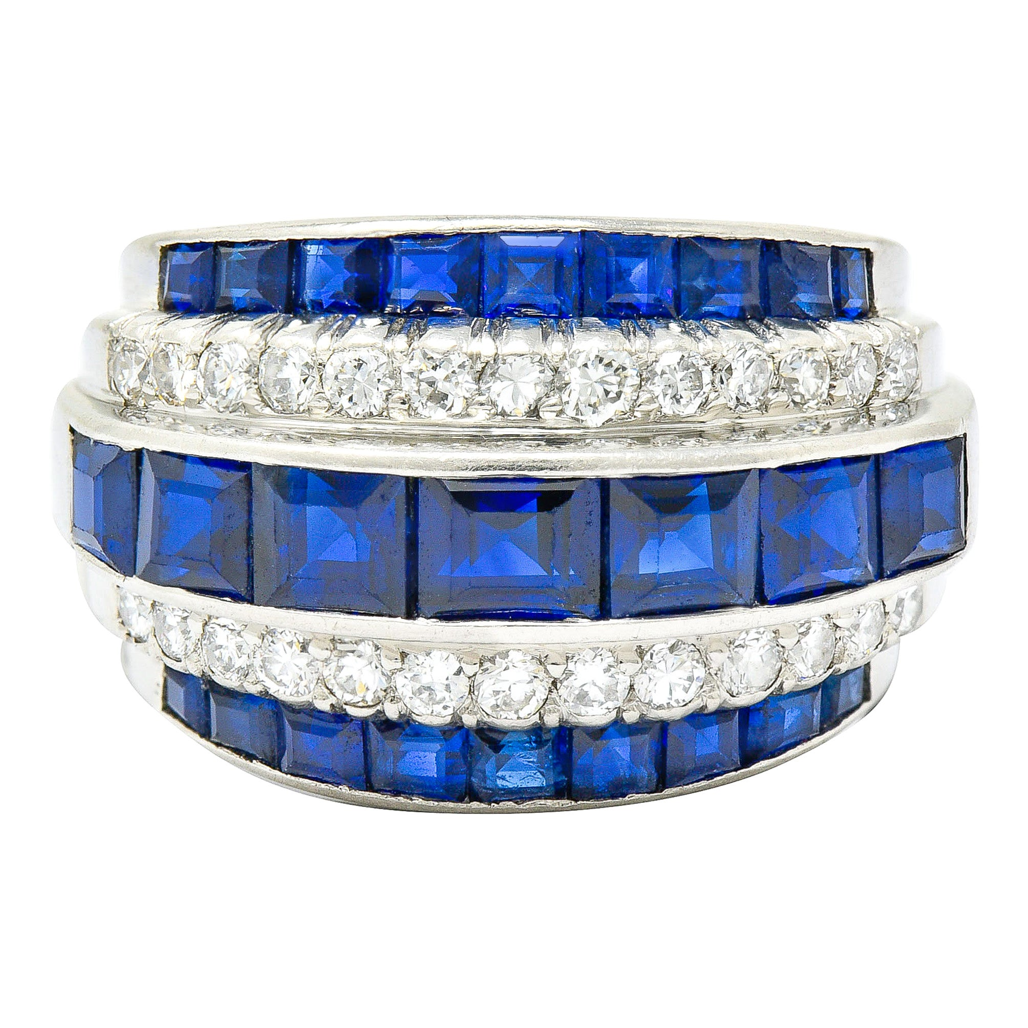 1950's Mid-Century 3.90 Carat Sapphire Diamond Platinum Band Ring