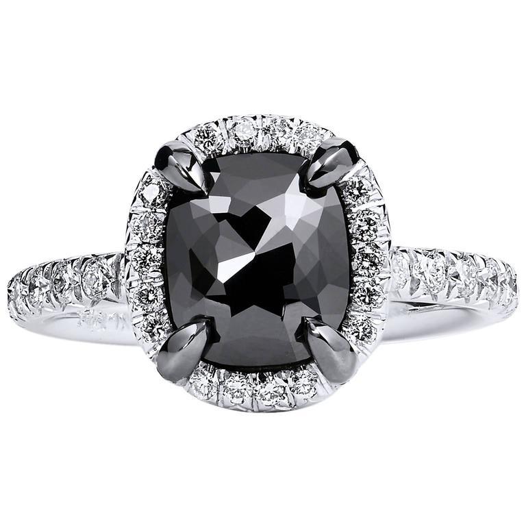 Black Diamond White Gold Ring For Sale at 1stdibs