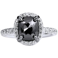 1.94 Carat Cushion Cut Black Diamond Halo Ring in 19 Karat White Gold