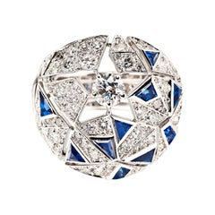 "Chanel 18 Karat Gold, Sapphire and Diamond ""Muse"" Ring, Café Society Collection"