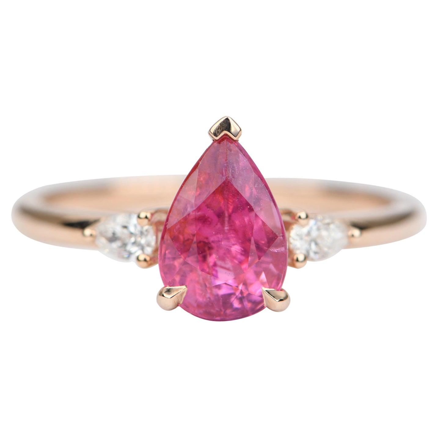 1.82ct Pear Shape Mahenge Spinel Diamond Sides Engagement Ring 14k Gold AD1895-1