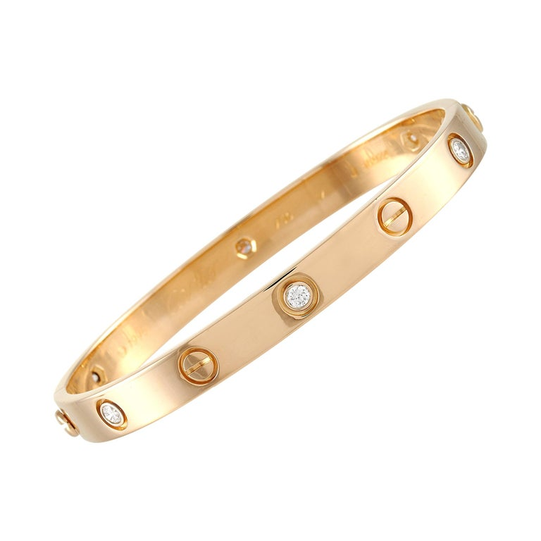 Cartier Love 18k Rose Gold 6 Diamond Bracelet For Sale