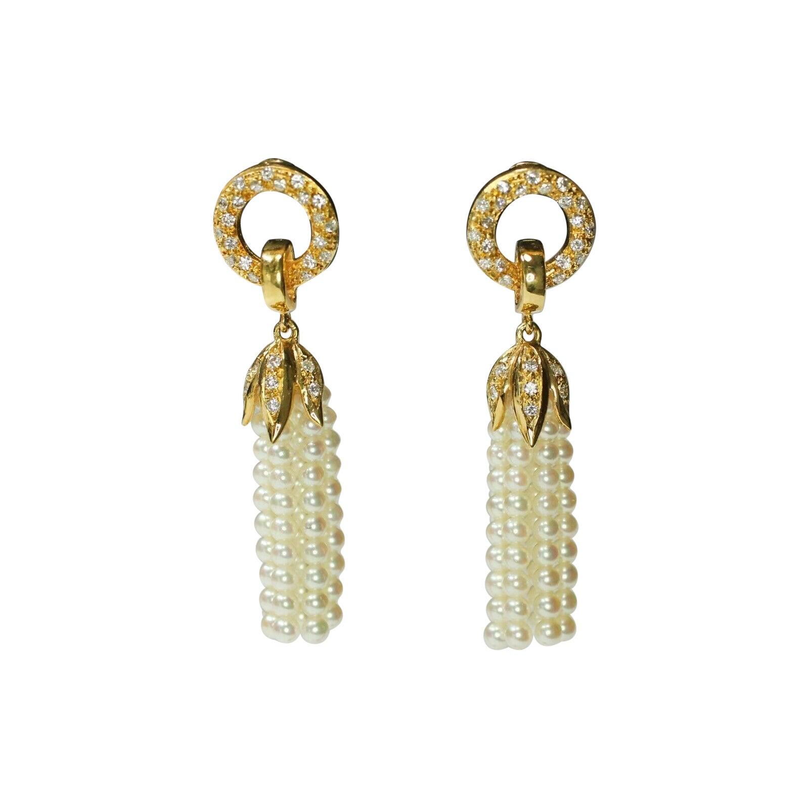 18k Yellow Gold Pearl Tassel Earrings with Diamonds