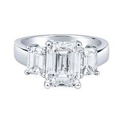 2.80ct Emerald Cut Diamond I VS1, GIA Platinum Engagement Ring 1.20ctw Sides