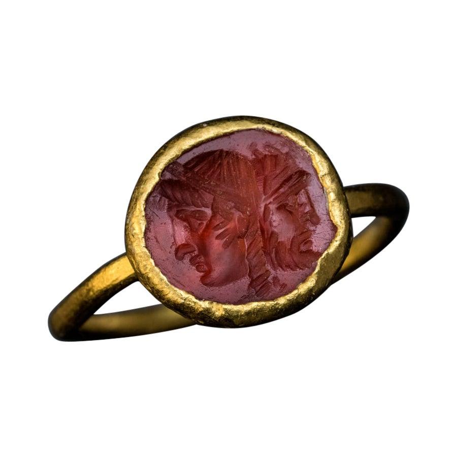 Ancient Roman Carnelian Intaglio Gold Ring