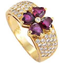 Van Cleef & Arpels Yellow Gold Diamond and Ruby Flower Band Ring