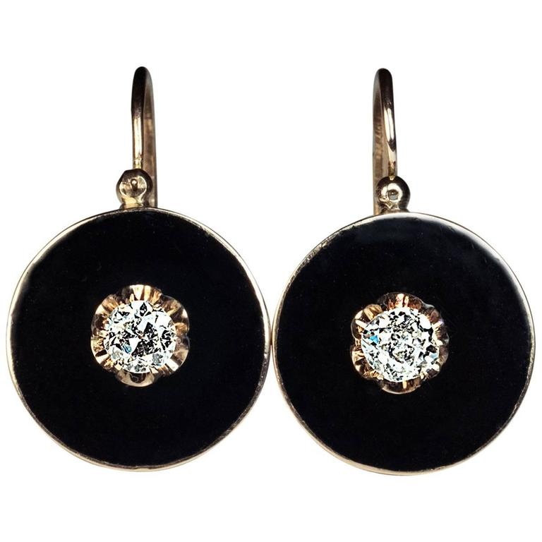 Antique Black Enamel Diamond Gold Earrings 1