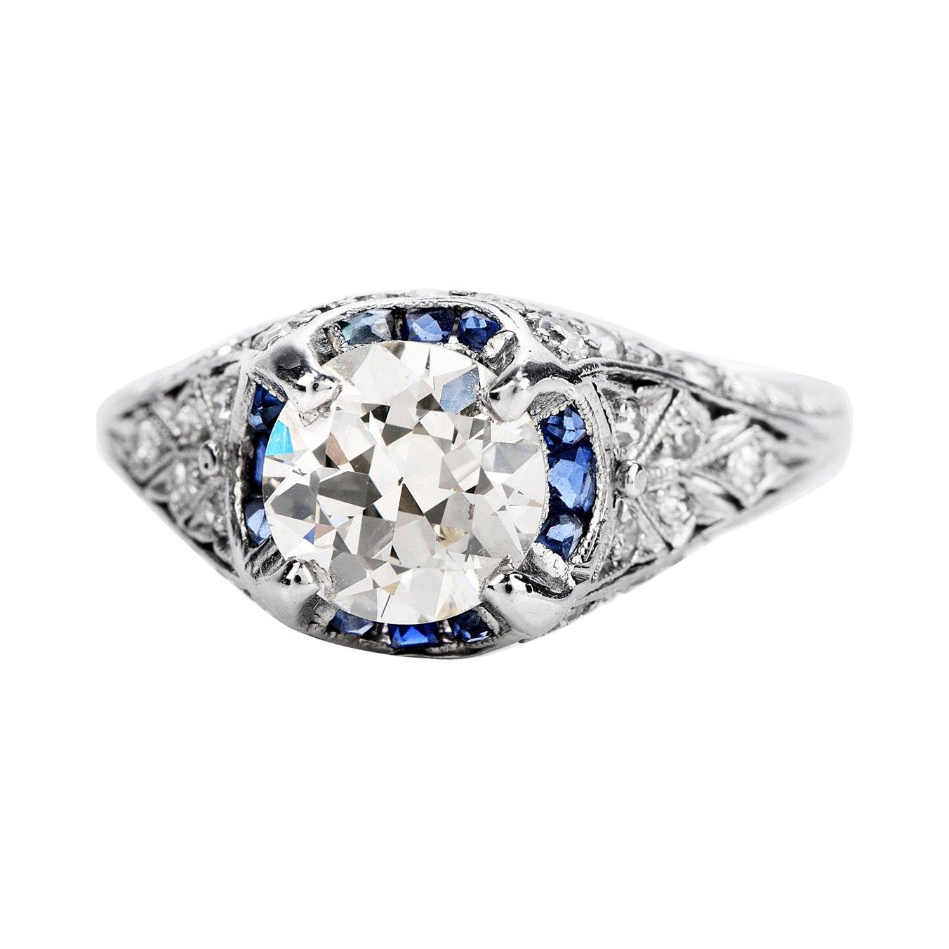 Vintage 1.50ct Diamond Blue Sapphire Platinum Halo Engagement Ring