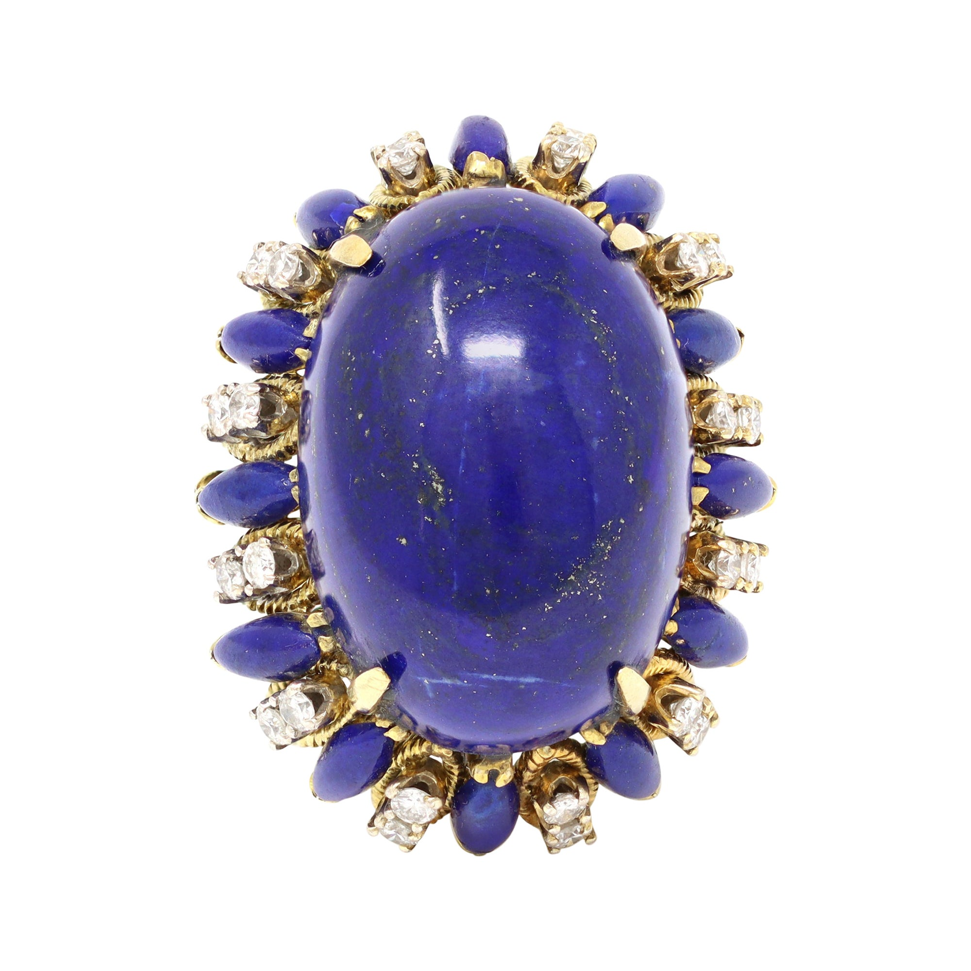 Large Cabochon Lapis Lazuli and Diamond Cocktail Ring, Circa 1970