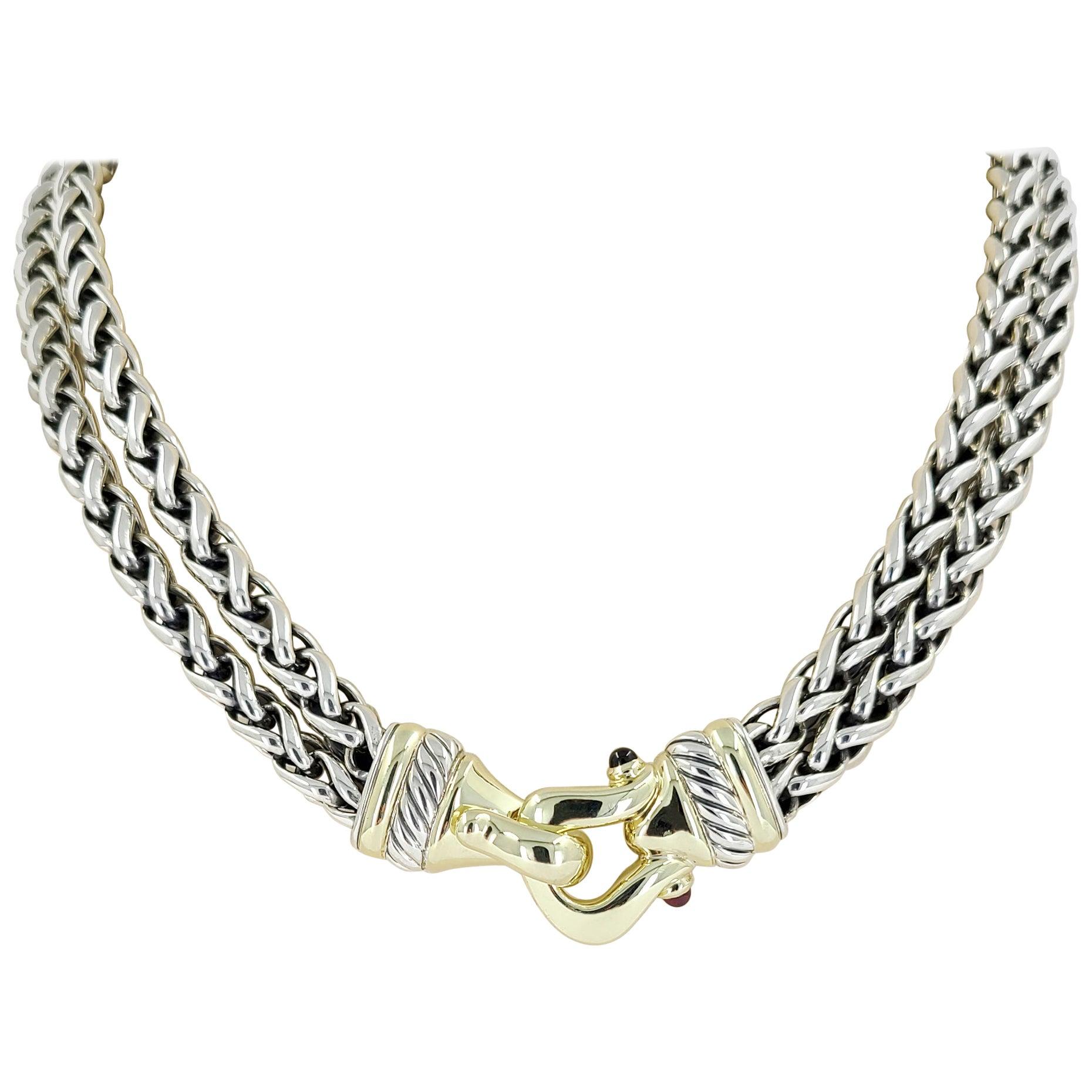 David Yurman 14 Karat Yellow Gold & Sterling Silver Buckle Necklace