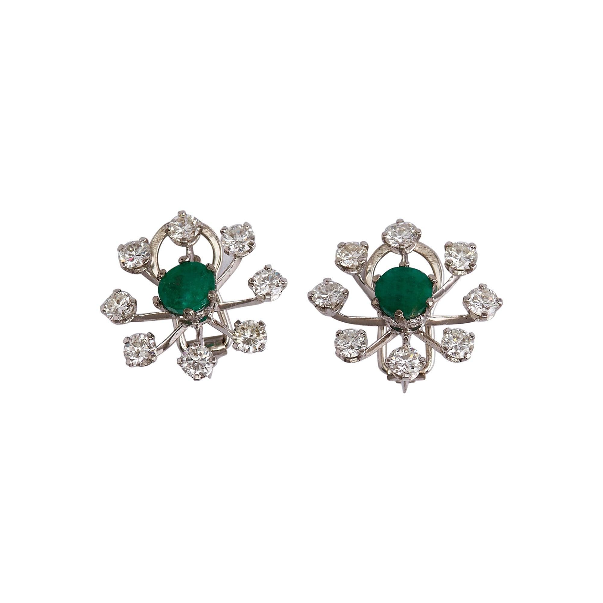 Pair of 18k White Gold Diamond and Emerald Flower Earrings