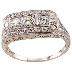 Art Deco Three Stone Diamond Platinum Ring