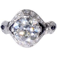 Charlton Striking Art Deco onyx diamond Platinum ring