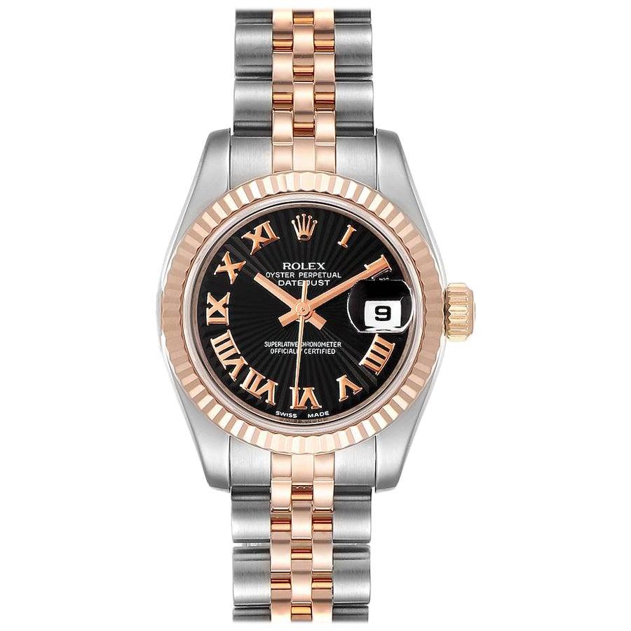 Rolex Datejust Steel Everose Gold Roman Numerals Ladies Watch 179171