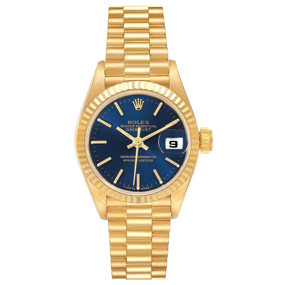Rolex President Datejust 26 Yellow Gold Ladies Watch 69178 Box Papers