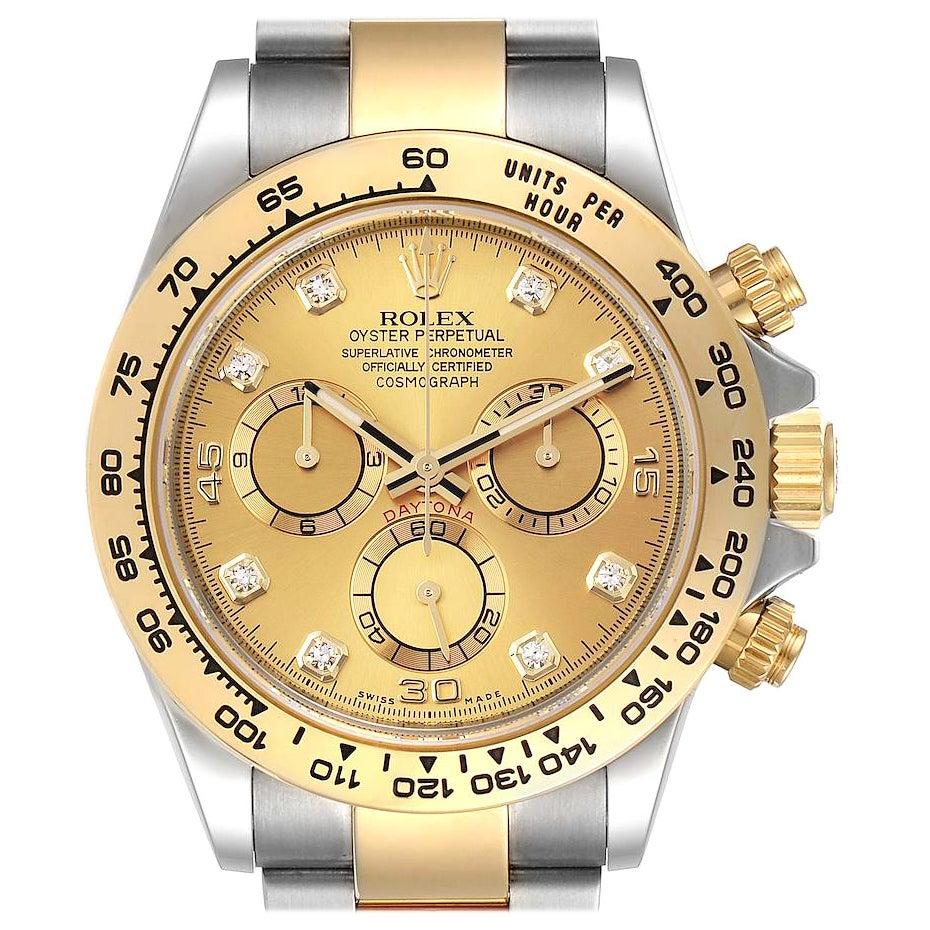 Rolex Cosmograph Daytona Steel Yellow Gold Diamond Watch 116503 Box Card