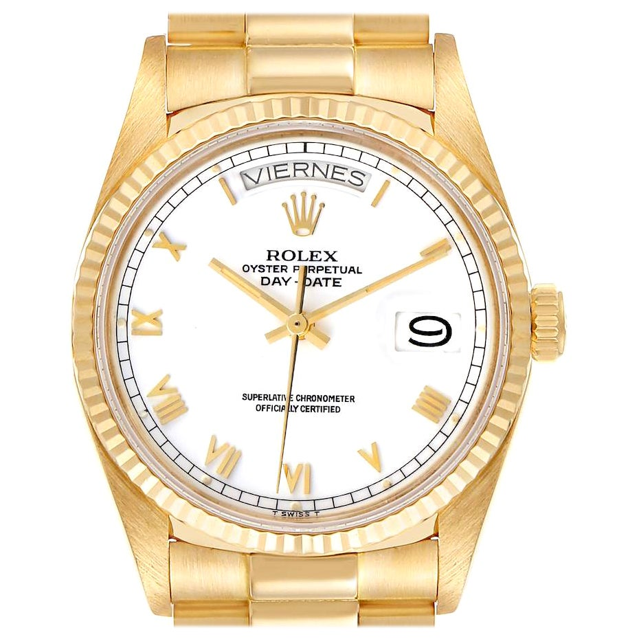 Rolex President Day-Date 36 White Dial Yellow Gold Men's Watch 18038