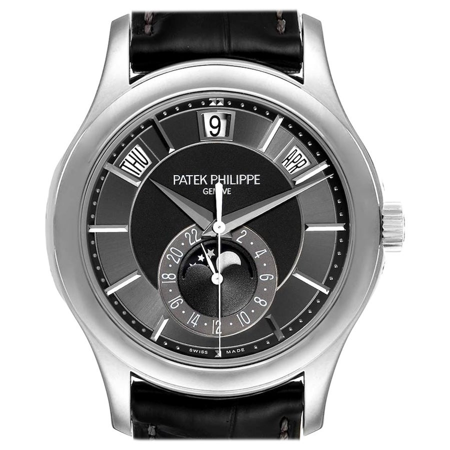 Patek Philippe Complications Annual Calendar White Gold Watch 5205 Box Papers