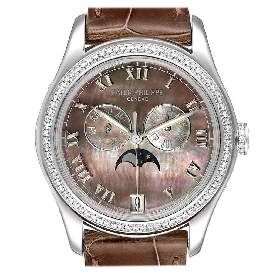 Patek Philippe Annual Calendar White Gold MOP Diamond Watch 4936 Box Papers