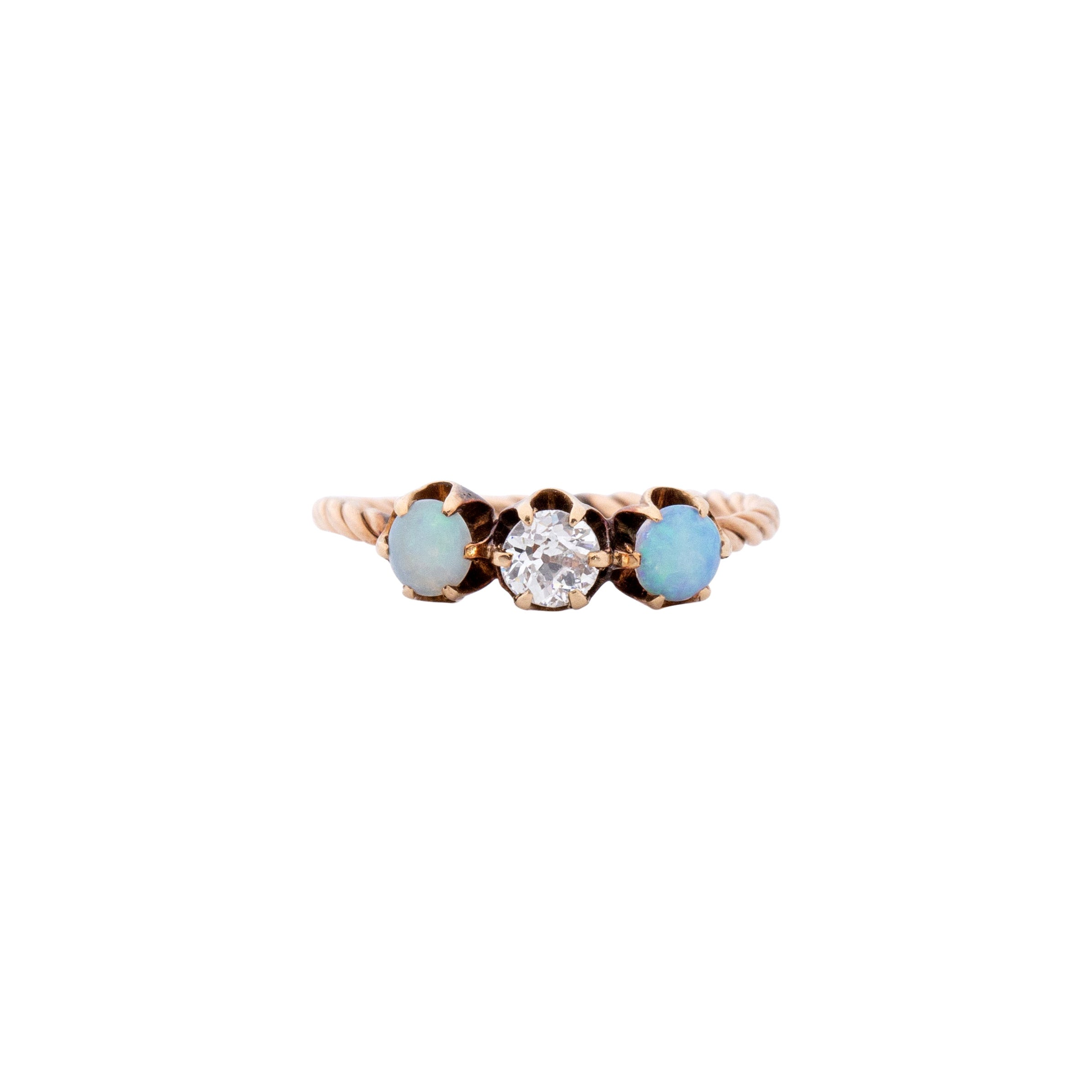 Victorian 14K Rose Gold Opal and Old European Cut Diamond Three Stone Ring
