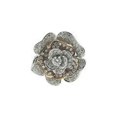18 Karats White and Rose Gold Rose Ring with Brilliant Cut Diamonds