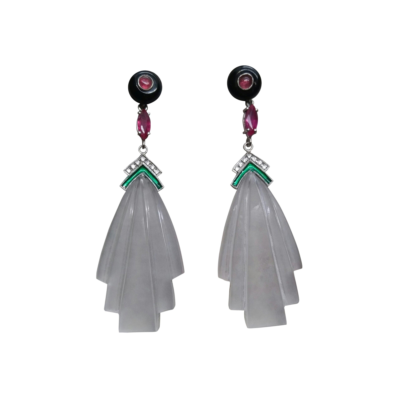 Art Deco Style Black Onyx Rock Crystal Gold Diamonds Rubies Enamel Earrings