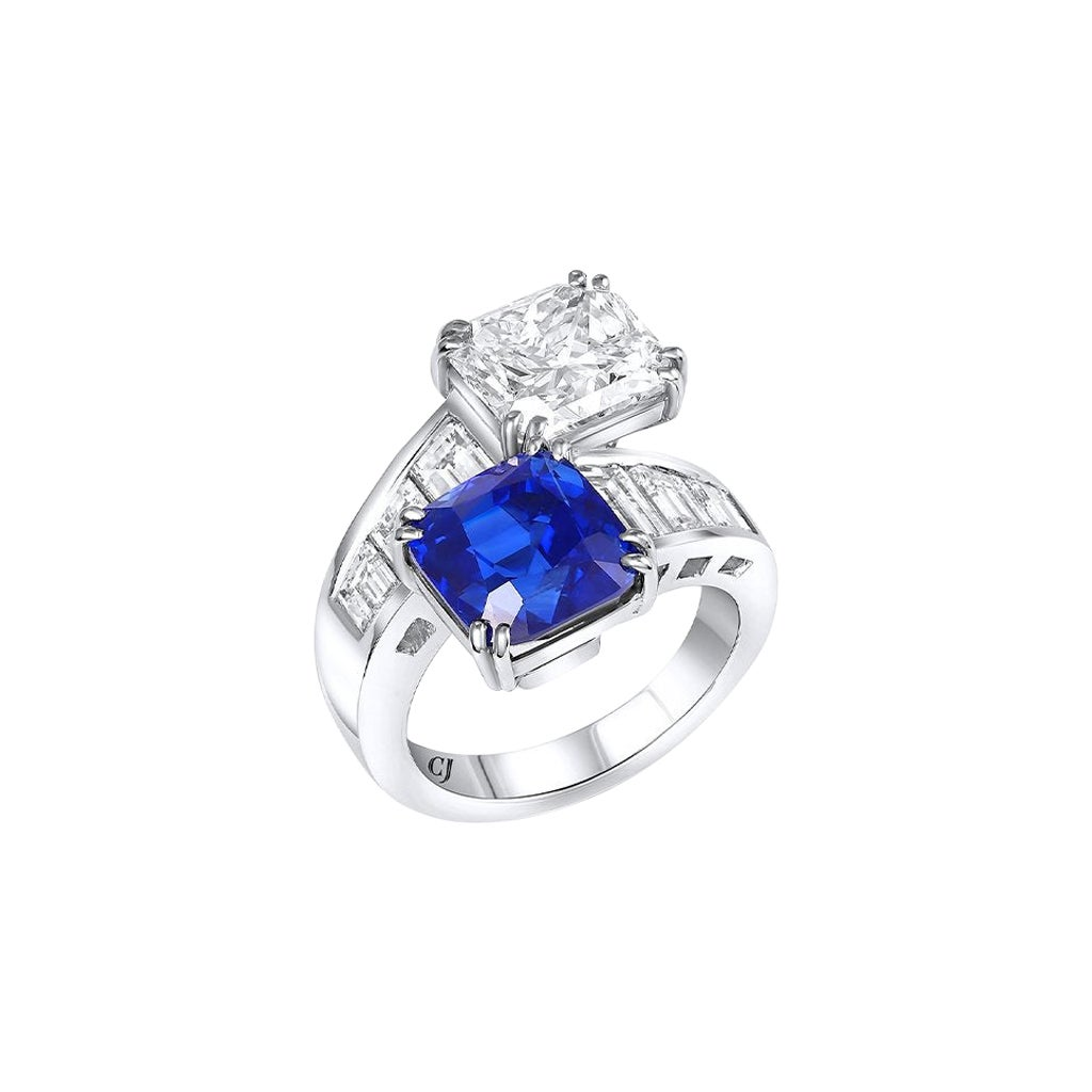 Rivière Platinum Bypass Sapphire and Diamond Ring, GIA Certified