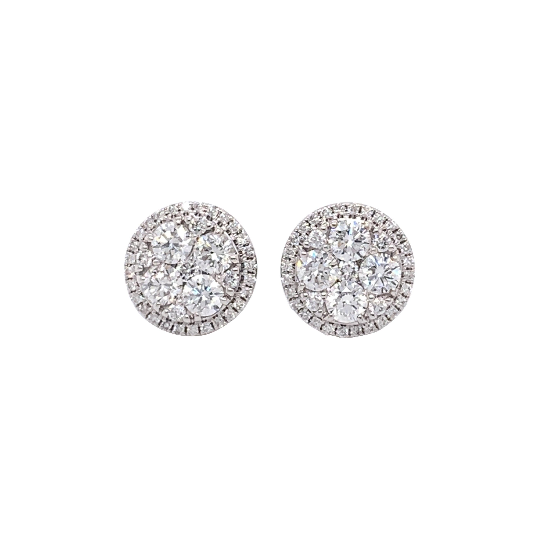 Diamond Pavee/Illusion Stud Earrings
