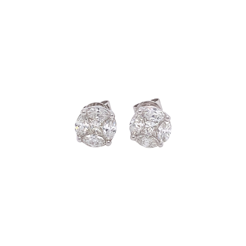 Diamond Marquis Cut Stud Earrings