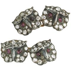 Ruby Diamond Silver Gold Owl Cufflinks