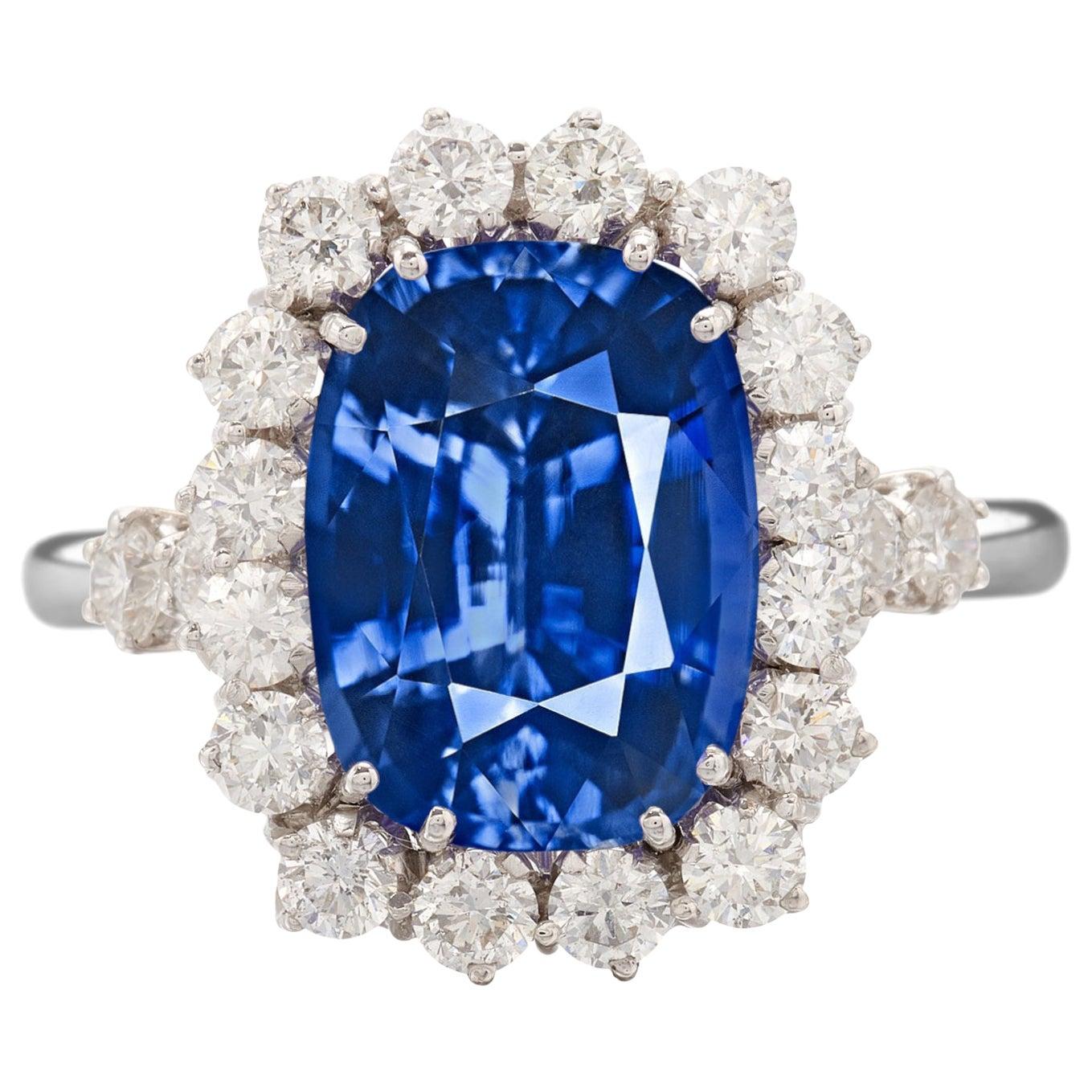 Exceptional GIA IGI Certified 5 Carat Kashmir Blue Cushion Sapphire Diamond Ring