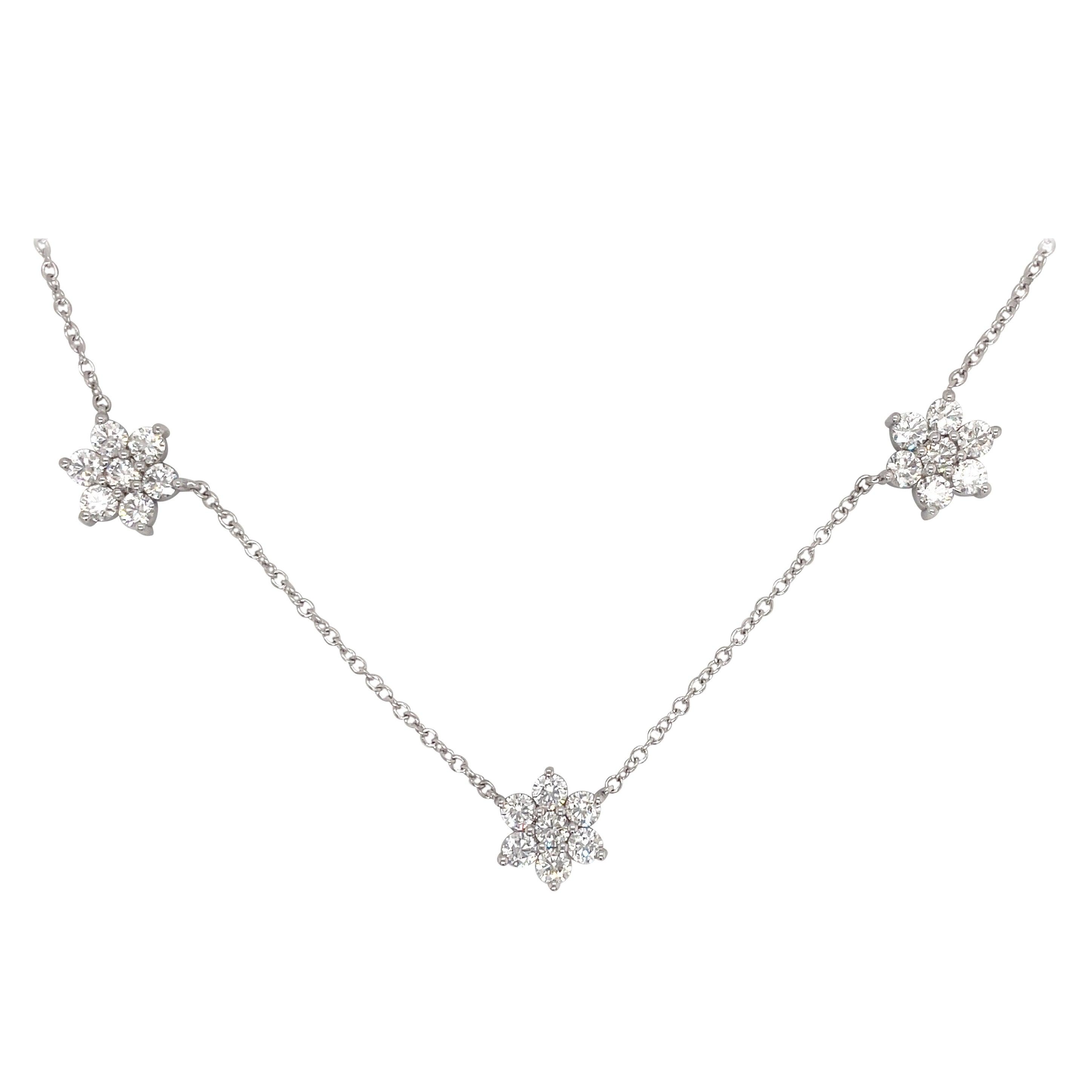 Diamond Cluster Necklace 3.08 Carats 14 Karat White Gold